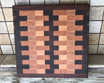 End grain cheese board trivet  walnut maple and Cherry wood small