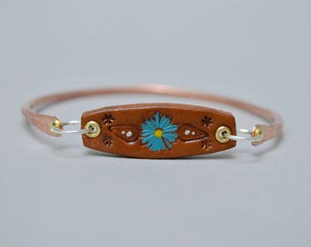Stamped Leather Sterling Copper Bangle . Stacking Bracelet. Blue Daisy. Cold Connections . Rustic . Earthy . Boho .