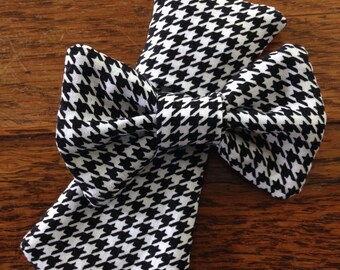 black and white houndstooth dog collar necktie or bow bow tie slide on removable handmade accessory multiple sizes made to order