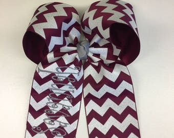 Any Name, Hair Bow, Maroon Glitter, Chevron Ribbon, Personalized Girls, Cheer Football, Sports Team, Uniforms Clips, Hairbows, Large Bows