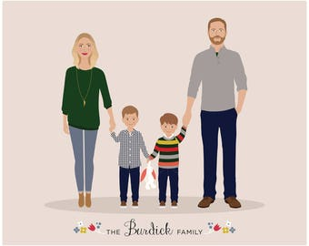 Custom Family Portrait, personalized family  illustration