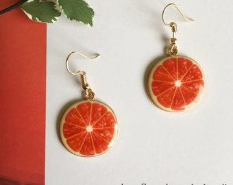 pink grapefruit earrings, citrus earrings, fruit dangly earrings, statement earrings, fun earrings, gifts for her, fruit lover accessories