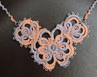Flowers tatting necklace, Tatted lace jewelry, Handmade lace necklace, Floral tatted jewelry, Art Frivolite, OOAK, Romantic jewelry for her
