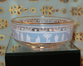 Vintage 50s JEANNETTE GLASS Hellenic Grecian BOWL with Gold Trim