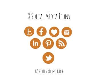 8 Orange Social Media Icons, Instant Download, Facebook Logo, Twitter logo, Instagram Logo, ETC
