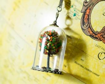 Handmade miniature terrarium autumn tree glass domed pendant necklace