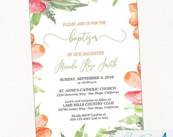 Garden Floral Baptism Invitation | girl  baptism, flower baptism, communion, baby, christening | digital, printable invitation