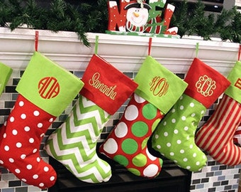 Christmas Stockings, 16 patterns, Embroidered, Personalized stocking, Monogrammed Stocking,