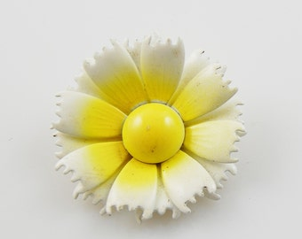Vintage White and Yellow Flower Brooch
