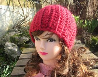 Crochet beret crochet hat red Jana