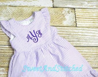 Monogrammed Seersucker dress, toddler dress, baby girl easter dress personalized, toddler beach outfit, Summer outfit, Baby Girl Beach Dress