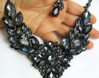Statement Necklace Earring Crystal Rhinestone Bridal Pageant Prom Jewelry Gray