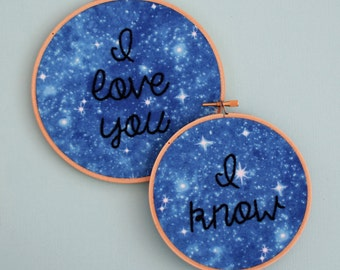 galaxy embroidery, star wars, i love you i know, han and leia, empire strikes back, galaxy needlepoint, outerspace embroidery, outer space