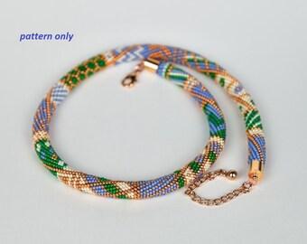 Bead Crochet Rope Pattern - green meets blue - tutorial