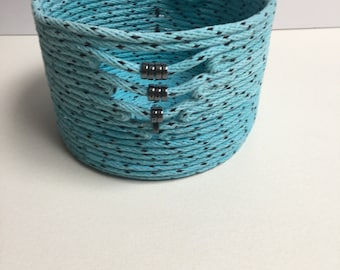 Turquoise and Black Cotton Bowl