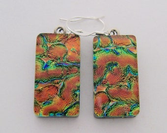 Dichroic glass jewelry earrings.