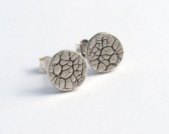 Botanical circle studs sterling silver dots studs