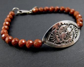 Stamped Silver ID Bracelet Tribal Design Sunstone Bead Bracelet - Bird's Eye Bracelet - Sterling Silver Bracelet Gemstone Sunstone Bracelet