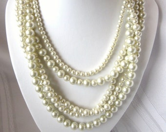 Pearl Necklace - Interchangable Muli Strand Pearl Necklace - Pearls, Removable 5-Strand  - Perfect Statement Piece, Custom, Made to Order