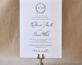 English Garden Wedding invitation, Wedding Invitation, Monogram Invitation, Green & Neutral