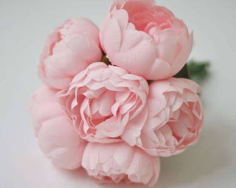 6Pcs Silk Peonies,blush pink peonies,Light Pink bridesmaid peonies bouquets,pink wedding flowers,silk flowers,not real touch