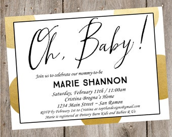 Oh, Baby! Polka Dot Baby Shower Invitation- Digital