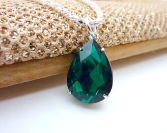 Emerald Necklace May Birthstone Emerald Green Pendant Bridesmaids Wedding Necklace