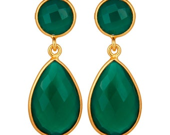 Green Onyx Faceted Dangle Earrings - Gold Plated Sterling Silver