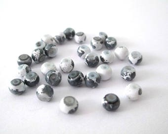 50 white speckled grey 4mm glass pearls