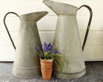TWO French Vintage Zinc Watering Cans, listing is for the two.