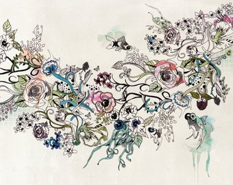 Large Canvas Painting, Modern Artwork of Flowers, Print of Original Art, Living Room Art