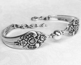 Spoon Bracelet, Sterling Silver Beads, Plantation 1948, Silverware Jewelry