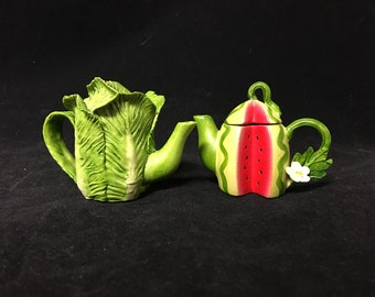 Vintage Fairy Garden Teapots - Watermelon and Cabbage (set)