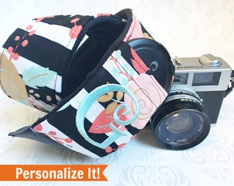 Embroidered DSLR Camera Strap, Padded, Minky, Lens Cap Pocket, Nikon, Canon, DSLR Photography, Photographer Gift - Striped Floral & Black