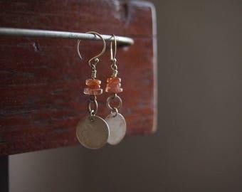 Silver and Sunstone earrings. Sunstone earrings. Long Silver earrings