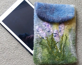 iPad cover iPad sleeve  gadget case tablet sleeve felted cover flowered cover handmade wet felted gift for her iPad protection felt iPad