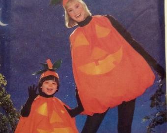 Costume Sewing Pattern Childrens Misses Pumpkin UNCUT 1988 Jack o Lantern Stemmed Leaf Hat All Sizes