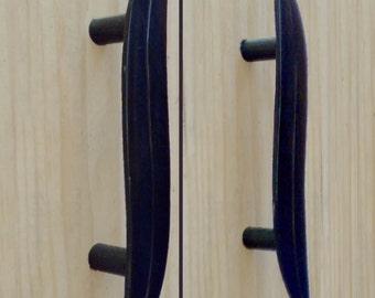 Delaforja (Pair) Eucalyptus Leaf Cupboard/ Furniture Handles in Black Zinc by Nyree L Smith