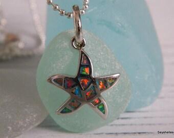Brilliant Orange Fire Opal Starfish with Sea Foam Green Sea Glass by Seyshelles