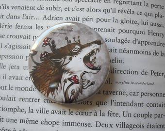 Wolf werewolf mushroom pin badge