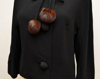 Vintage 50s Black Wool Cropped Jacket Corded Buttons and Genuine Mink Pom Poms