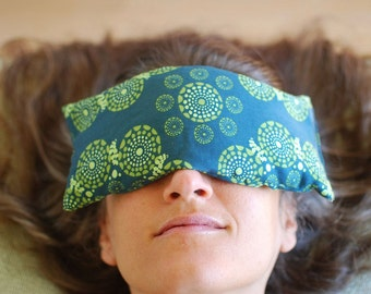 Home Spa - Eye Pillows -  Organic Cotton Lavender Flax - Emerald Green - Eco Friendly