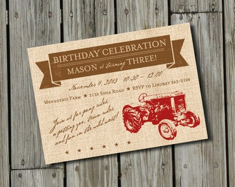 DIY Printable Vintage Red Tractor Birthday Invitation DIGITAL FILE