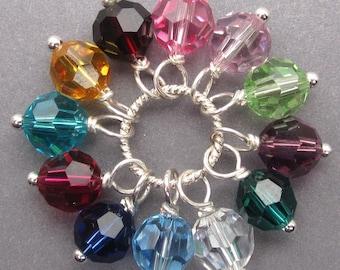 Birthstone Charms, Swarovski Charm,  Swarovski Crystal Charms, Stitch Markers, Swarovski Crystals, Bead Dangles, Bracelet Charms