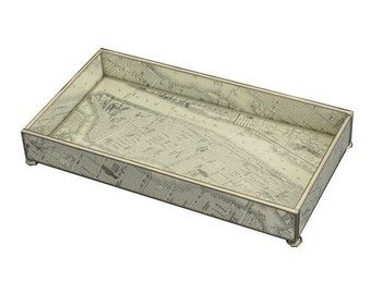 """New York Map Metal and Glass 6"""" x 12"""" Tray"""