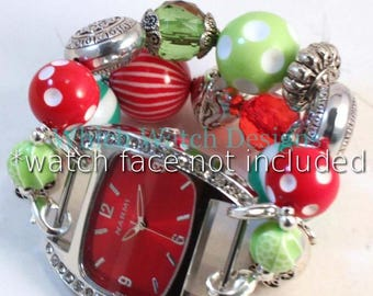 Christmas Cheer.. Green Stripes and Red Polka Dots Interchangeable Watch Band, Silver Plated Bead