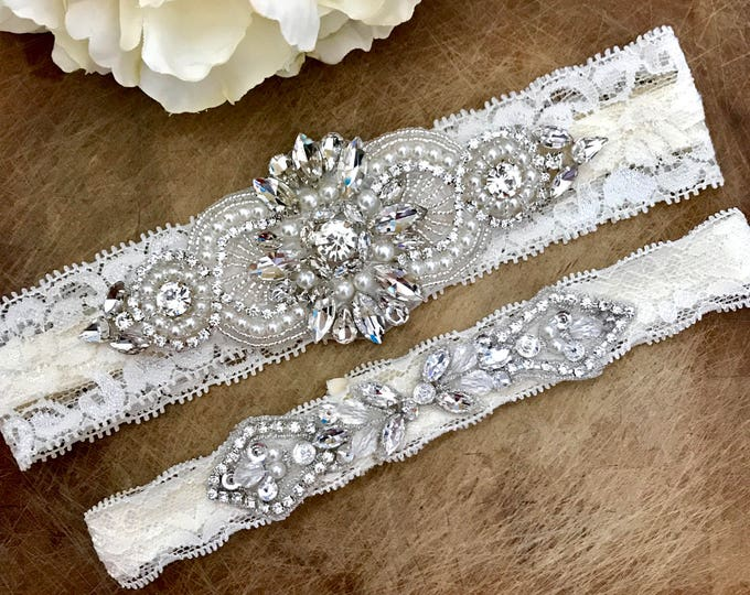 Wedding Garter Set NO SLIP grip vintage rhinestones bridal garter, elegant wedding garter set IVORY B04S-CB12S