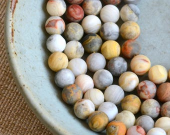 Crazy Lace Agate Beads, 8mm Beads, Multi Color Agate Beads, Frosted beads, Matte beads, Natural Agate, Full Strand, 46 Beads, MAN17-0906D