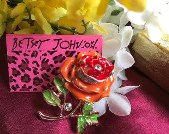 Crystal Rhinestones Brooch Light & Dark Orange Enamel Rose Flower Brooch with Gold Gift Box- Mother's Day