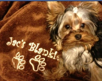 "Small 30 x 40"" Minky Personalized Dog Blanket"